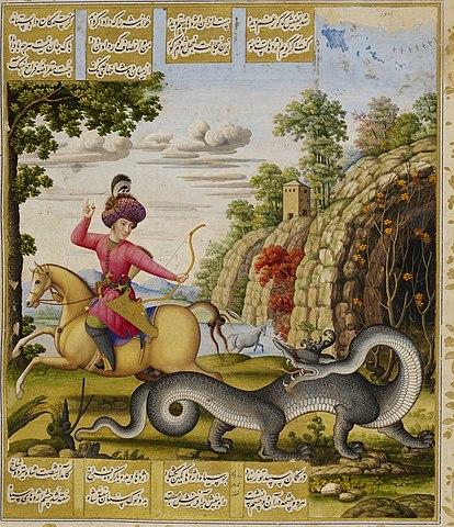 بهرام گور و کشتن اژدها، نگارهای از محمد زمان