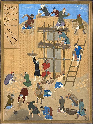 ساخت کاخ خورنق، نگارهای از کمالالدین بهزاد