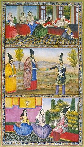 هزار و یک شب جلد اول آبرنگ روی کاغذ ۱۸×۳۲ سانتیمتر کتابخانهٔ کاخ گلستان، تهران، شمارهٔ کتابخانهٔ خط