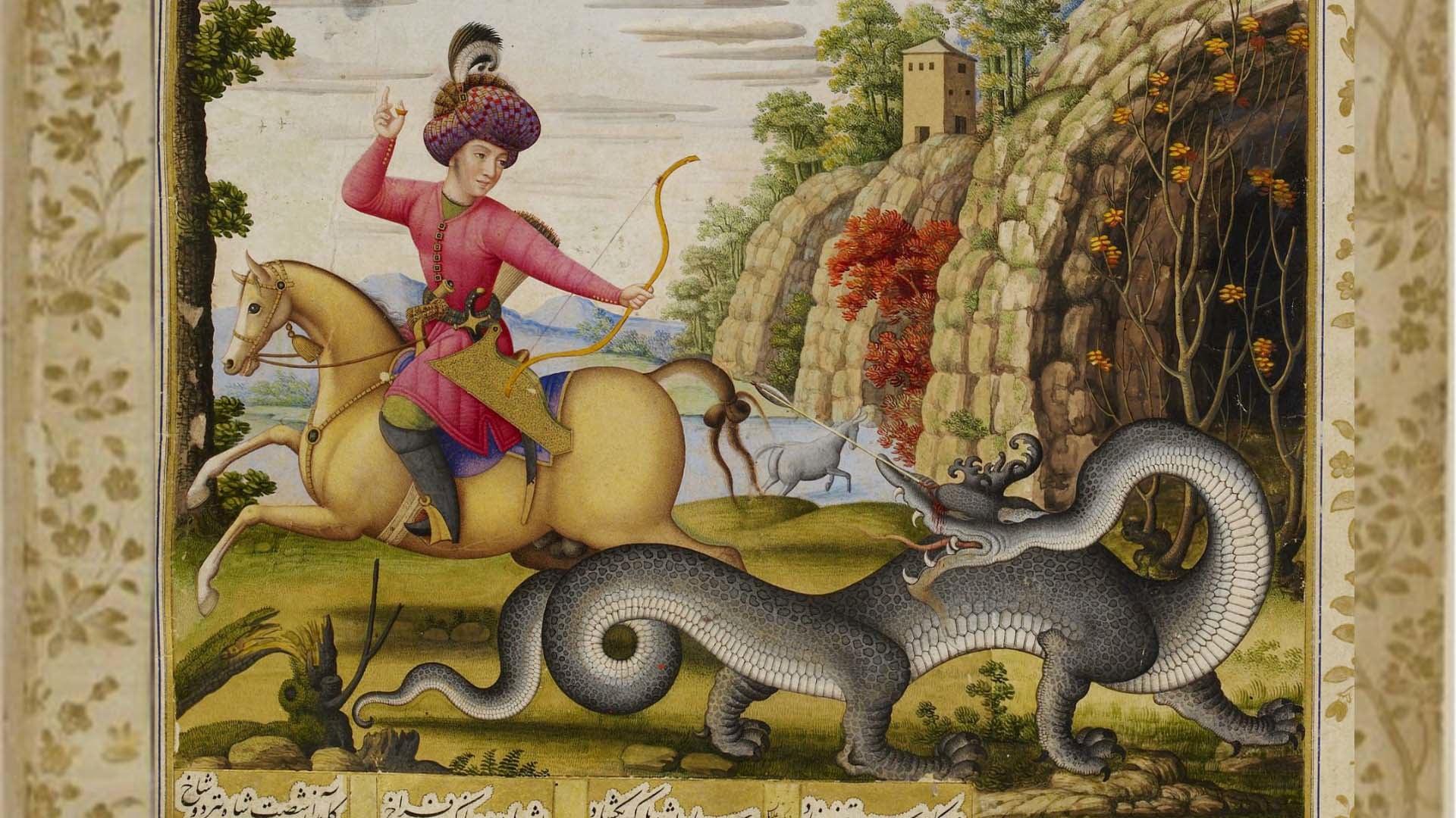 ۸. کشته شدن اژدها به دست بهرام گور اثر محمد زمان